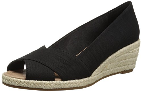 Espadrille Silk (206 Collective Women's Braylon Open-Toe Espadrille Wedge-Low Sandal, Black Silk, 7 B US)