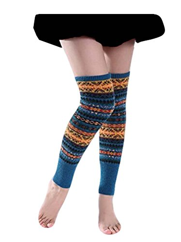 Santwo Women Knee High Socks Winter Bohemian Boot Cuffs Knit Crochet Leg Warmers (Blue-01)
