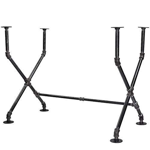 Large Leg Desk - Industrial Pipe Desk Leg Set by Pipe Decor, Modern Home Office Table Writing or Computer Base Kit, Dark Grey Black Rough Pipes, Rustic Vintage Furniture Unfinished Steel Metal Pipe Legs, X-Desk Style