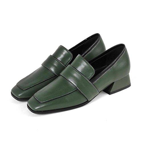 Frauen Schuhe aus echtem Leder Karree Block Heel Loafer Größe 35 bis 38 green