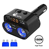 150W Cigarette Lighter Adapter, 12V/24V DC 2 Socket Splitter Multi Power Outlet PD Type C USB Car Charger with LED Voltmeter Switch 6.8A Dual USB Port for iPhone iPad Android Samsung GPS Dashcam