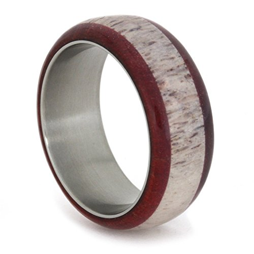 Deer Antler and Ruby Redwood 9mm Comfort-Fit Titanium Wedding Band, Size 8.25 by The Men's Jewelry Store (Unisex Jewelry)