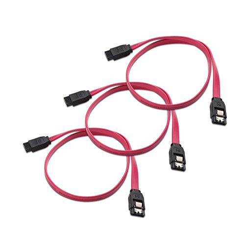 (Cable Matters 3-Pack Straight SATA III 6.0 Gbps SATA Cable (SATA 3 Cable) Red - 18 Inches)