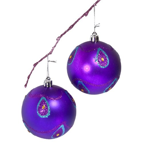 Perfect Holiday Handpainted 2-Piece Shatterproof Christmas Ornament Set, 3.14-Inch, Purple Matte Ball with Peacock and Acrylic Diamond