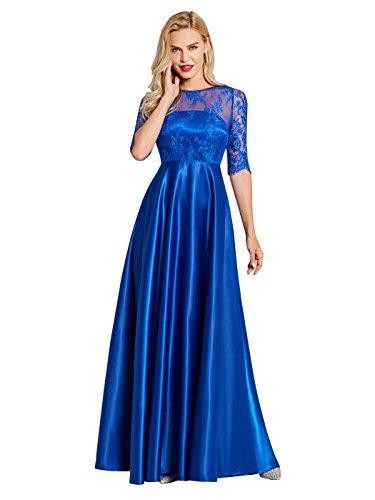 Sisjuly Women's V Back Lace Prom A-line Half Sleeve Evening Dress 6 Royal Blue ()