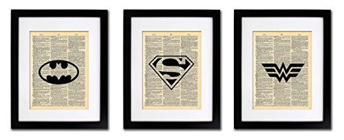 Superhero Batman Superman Wonder Woman - 3 Print Set - Vintage Dictionary Print 8x10 inch Home Vintage Art Abstract Prints Wall Art for Home Decor Wall Decorations Home Office Ready-to-Frame (Batman Print)
