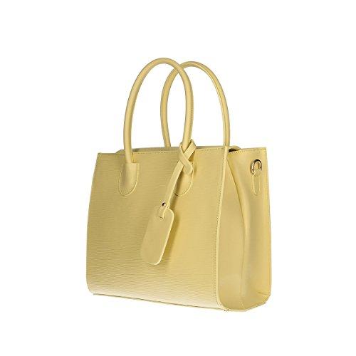 Chicca Borse Piel genuina bolso 20x17x7 Cm amarillo