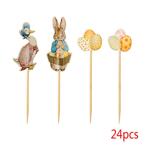 Mother Goose Party Supplies (Seaskyer Easter Themed Cupcake, Toppers Picks Peter Rabbit,Toppers Rabbit, Mother Goose, Easter Eggs, Spring Party Supplies Pack of)