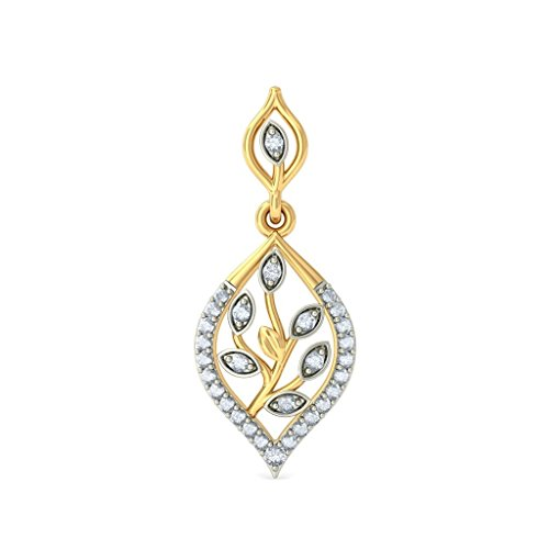 14 K jaune Or 0,32 CT TW White-diamond (IJ | SI) Pendants d'oreilles