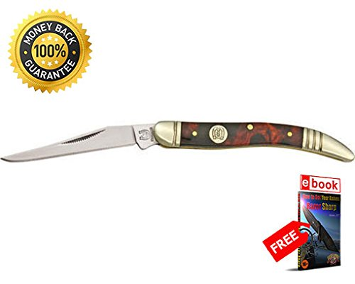 Imitation Tortoise Shell - Rough Rider Folding Utility Knife 505 Folding Knife Baby Toothpick Imitation Tortoise Shell razor sharp knife strong carbon blade survival camping hunting EDC military knife eBOOK by MOON KNIVES