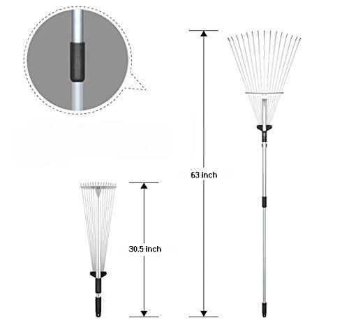 Rake 65 Inch Adjustable Garden Leaf Rake Expanding Rake Expandable Head From 7.5 Inch to 25 Inch by Marine Color