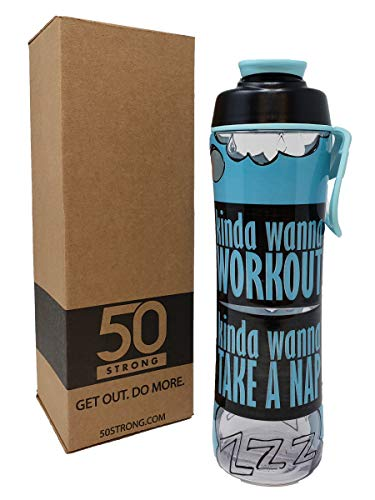 50 Strong BPA Free Gym Water Bottle with Ice Guard Flip Top Cap & Carry Loop - Cute Designer Prints - Perfect for Men, Women, Sports & Workout - 24 ()