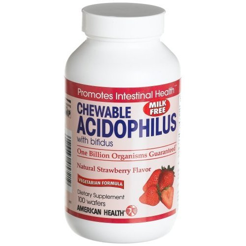 American Health Acidophilus and Bifidus Chewable Strawberry -- 100 Wafers