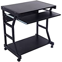 Modern Corner Computer Desk Home Office Workstation Mobile Laptop PC Table Black