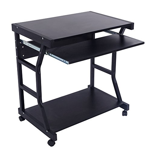 FCH Laptop Table Cart Mobile Laptop Desk Cart Computer Desk With Printer Stand and Pullout Keyboard Tray,Black
