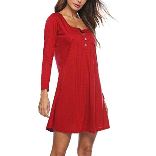 donna Rosso T Manica Elegante Mini Sciolto Donna O Lunga Casual Casuale Vestito Festa Sexy Pulsante Vestito collo shirt Solido Italily Camicetta ZwRHqXEZ
