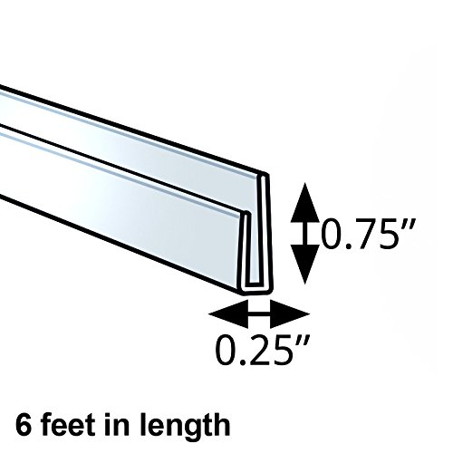 Count of 5 Clear Acrylic J-Bar 6 foot length 0.25'' x 0.75'' w/ adhesive tape