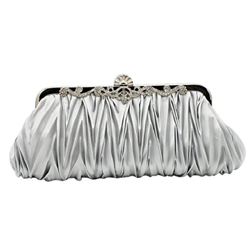 Bodhi2000? Ladies Vintage Satin Clutch Bag Evening Cocktail Purse Wedding Party Bridal Prom Silver