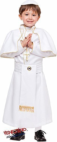 Italian Made Baby & Older Boys 4 Piece White Catholic Pope Religious Carnival Book Day Week Halloween Fancy Dress Costume Outfit 1-12 years (10 years) ()