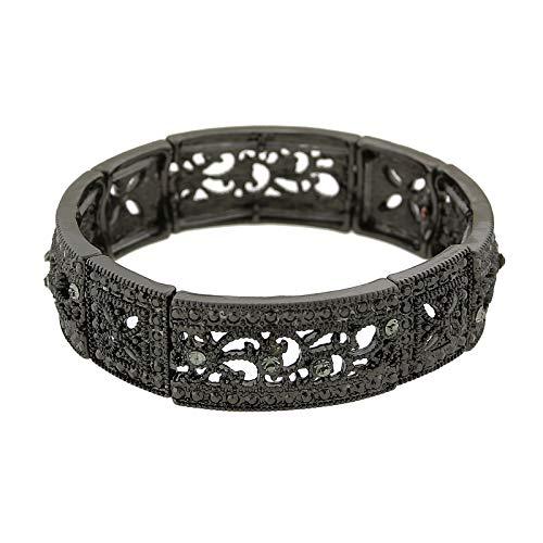 (1928 Jewelry Black-Tone Black Diamond Square Filigree Stretch Bracelet)