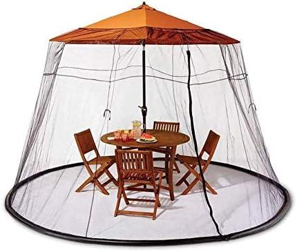 蚊帳、7.5FT屋外パティオパラソル蚊テーブルスクリーンカバー蚊帳虫ネットパーフェクトカバーこれらの夏の午後とイブニングバーベキュー、大きなジッパー付き入り口で簡単にアクセス