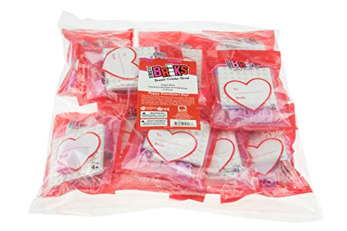Strictly Briks - Valentine's Day Heart Party Favors - 10 Pack of Building Bricks for Classroom Gift Box Exchange - Healthy and Engaging Alternative to Candy and Cards