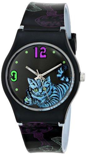 Alice in Wonderland Women's AL1010 Cheshire Cat Black Dial Plastic Strap Watch