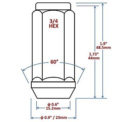 Mastiff 13759, Acorn Bulge After-Market Lug Nut Set - M14X1.5 Thread, Triple-Chrome Finish, 3/4 Hex, 60 Degree Conical Seat (Pack of 32): Automotive