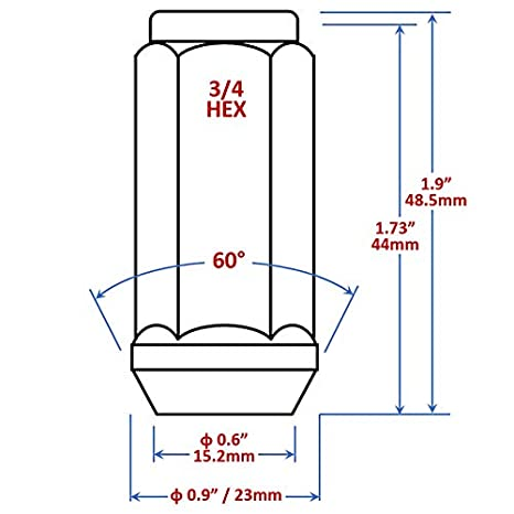 Mastiff 13760BK 9//16-18 Thread Black-Chrome Finish Pack of 32 Acorn Bulge After-Market Lug Nut Set 3//4 Hex 60 Degree Conical Seat