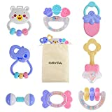 HAHA Baby Rattles Teether Toys Set Infant Newborn Sensory Teething Set for 0 3 6 to 12 Months Girls Boys