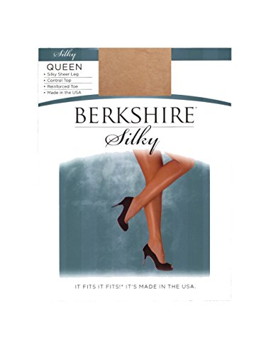 Sheer Queen Berkshire Silky (Berkshire Women's Plus-Size Queen Silky Sheer Control Top Pantyhose 4489,Natural Tan,Queen Petite)