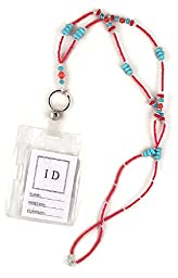 Beaded Lanyard ID Badge Holder Red And Turquoise, 34\