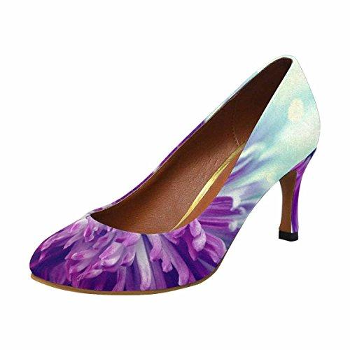 InterestPrint Womens Classic Fashion High Heel Dress Pump Bright Violet Flower Close Up