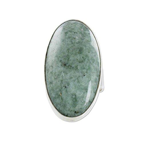 NOVICA Natural Jade .925 Sterling Silver Cocktail Ring, Sixth Star