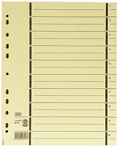 ELBA 400004671 Trennblätter A4 mit Perforation, aus 230 g/m² starkem Recycling-Karton, Farbe chamois, Pack mit 100 Stück