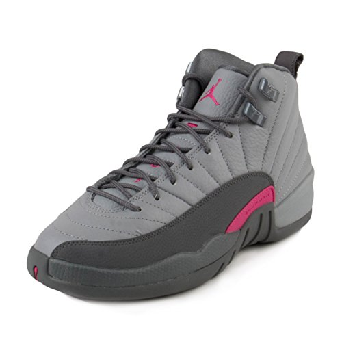 Nike Girls Air Jordan 12 Retro GG Wolf Grey/Vivid Pink Leather Size 5Y by NIKE
