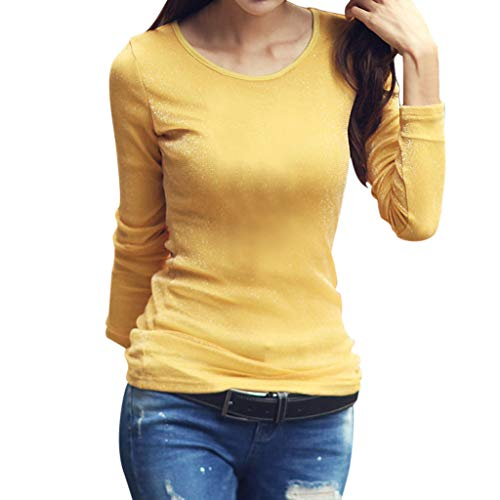 ALLYOUNG Fashion Tops Women Solid Long Sleeve Slim Fit Round Neck Stretch Casual Bottoming Top (Yellow, XL)
