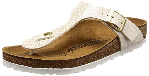 Birkenstock Toe Post Sandal - Birkenstock Gizeh Women's Toe Post Sandals 38 M EU /7-7.5 B(M) US Shiny Snake Cream