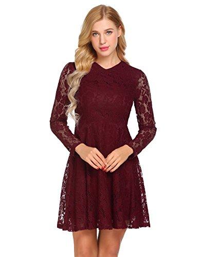 Meaneor Damen Elegant Spitzenkleid V Ausschnitt Langarm Knielang Abendkleid  Swing Kleid mit Reißverschluss Größe S- a7bedc49e3