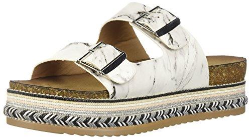 Qupid Women's Espadrille Wedge Sandal, White/Multi, 8 M US from Qupid
