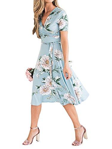 Jolis avec Robe Clair Femme V Elgante Fleurs Bleu Col Courtes Loralie Longue Mi Manches Imprims Chic Et TqfCwxP7