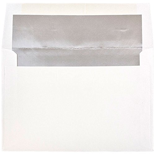 - JAM PAPER A8 Foil Lined Invitation Envelopes - 5 1/2 x 8 1/8 - White with Silver Foil - 25/Pack