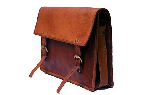 KGNExportsHouse 15 Pulgada Vintage Leather Bag Crossbody Vendimia Escolar Ordenador Hombro Mensajero Bandolera Bolsa de Cuero Para Hombre Mujer - Marrones