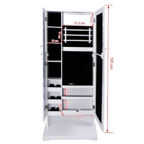 songmics armario joyero con espejo para joyas joyero de madera de pie color blanco jbc88w. Black Bedroom Furniture Sets. Home Design Ideas