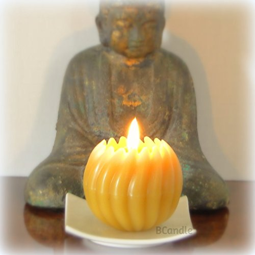 Spiral Ball Candle 100% Beeswax - 3x3 with Square Porcelain Candle Plate (Square Beeswax Candles)