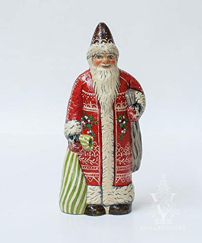 Vaillancourt Folk Art Santa in Red with White Embroidery