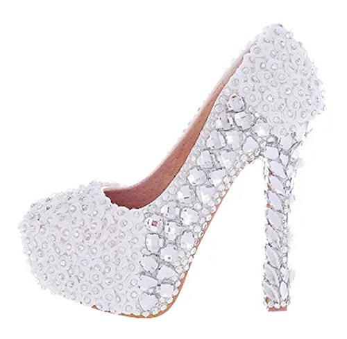Dress Chic Wedding Women's Pumps White 14cm Heel Rhinestones Party Stiletto TDA qPXAA