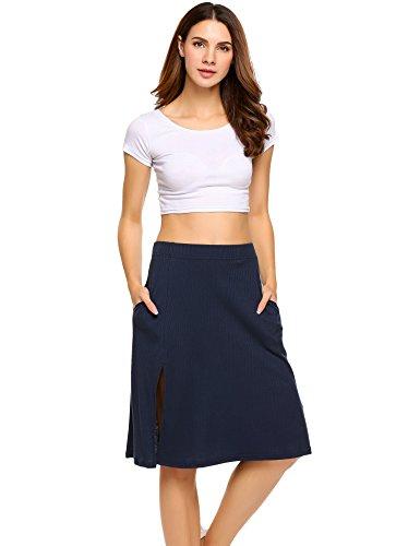 - Zeagoo Women's High Elastic Waist Side Split Slit Stretch Midi Long Skirt with Pockets