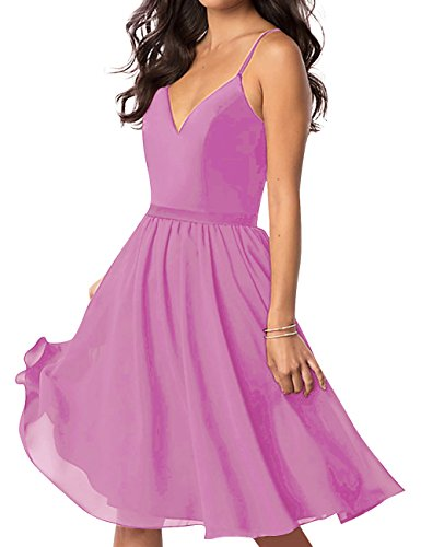 A Homecoming Dress Peach Spaghetti Dresses Neck Backless V Chiffon ASBridal Line Short Prom 48RpEZ