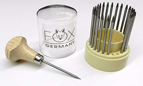 DIAMOND SETTING BEADING TOOLS JEWELRY STONE SET BEADERS 23 PIECE SET FOX GERMANY (E 6)